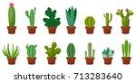 horizontal banner set of desert ... | Shutterstock .eps vector #713283640