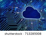 cloud computing and network... | Shutterstock . vector #713285008