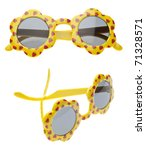 Yellow Summer Child Size Sunglasses in Two Views Isolated on White with a Clipping Path. - stock photo