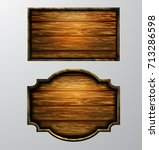 wooden signs  vector icon set | Shutterstock .eps vector #713286598