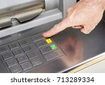an atm button keypad with a... | Shutterstock . vector #713289334