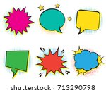 set of six empty retro colorful ... | Shutterstock .eps vector #713290798