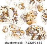 seamless pattern with a gold... | Shutterstock .eps vector #713293666