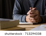 businessman hand pray for... | Shutterstock . vector #713294338