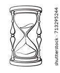 hourglass. black and white hand ... | Shutterstock .eps vector #713295244