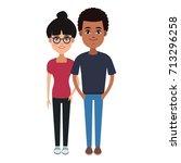 young couple cartoon | Shutterstock .eps vector #713296258