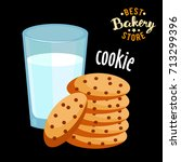 milk and cookies flat icon... | Shutterstock .eps vector #713299396