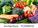 composition with variety of raw ... | Shutterstock . vector #713300533