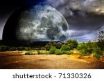dreamscape with full moon - stock photo