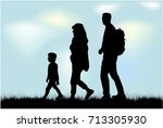silhouette family on a walk. | Shutterstock .eps vector #713305930