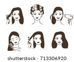 woman take care about her hair.... | Shutterstock .eps vector #713306920