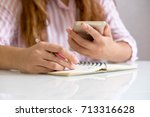 business woman working at... | Shutterstock . vector #713316628