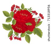 red english roses with rowan... | Shutterstock .eps vector #713318956