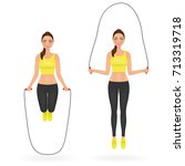 fit girl doing exercises with... | Shutterstock .eps vector #713319718