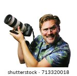 funny retro man with mustache... | Shutterstock . vector #713320018