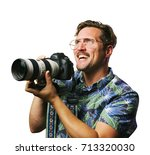 funny retro man with mustache... | Shutterstock . vector #713320030