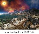 Alien City Ruins By Ocean...