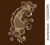 henna tattoo flower template.... | Shutterstock .eps vector #713323294