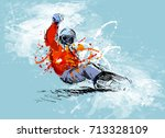 colored hand sketch snowboarder ... | Shutterstock .eps vector #713328109