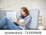 attractive young female with... | Shutterstock . vector #713339608