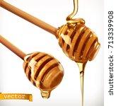 honey dipper. 3d realistic... | Shutterstock .eps vector #713339908