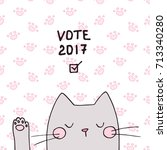 cute vector voting cat face...   Shutterstock .eps vector #713340280