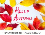 hello autumn calligraphy note... | Shutterstock . vector #713343670