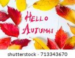 hello autumn calligraphy note... | Shutterstock . vector #713343670