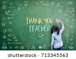 thank you teacher greeting card ... | Shutterstock . vector #713345563