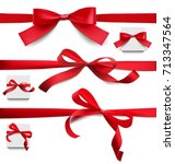set of red bows of different... | Shutterstock .eps vector #713347564
