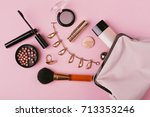 make up bag with cosmetics...   Shutterstock . vector #713353246