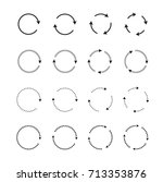 sets of black circle arrows.... | Shutterstock .eps vector #713353876