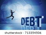 businessman avoiding debt... | Shutterstock . vector #713354506