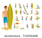 character person surfer man.... | Shutterstock .eps vector #713356408