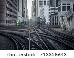 grungy look down subway tracks... | Shutterstock . vector #713358643