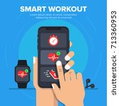 smart workout icon concept.... | Shutterstock .eps vector #713360953