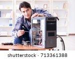 disabled man on wheelchair... | Shutterstock . vector #713361388
