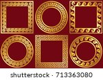 set golden round and square... | Shutterstock .eps vector #713363080