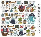 vector seamless pattern pirate... | Shutterstock .eps vector #713363713