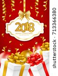 2018 merry christmas and happy...   Shutterstock .eps vector #713366380