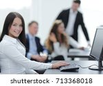 business woman on the... | Shutterstock . vector #713368018