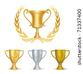 trophies gold silver and bronze | Shutterstock .eps vector #71337400