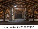 creepy attic interior at... | Shutterstock . vector #713377456