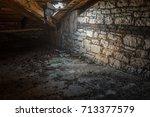 creepy attic interior at... | Shutterstock . vector #713377579