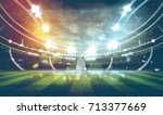 lights at night and football... | Shutterstock . vector #713377669