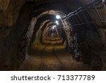 underground mine passage angle... | Shutterstock . vector #713377789