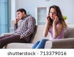 young family in broken... | Shutterstock . vector #713379016