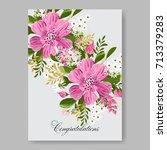 poinsettia floral wedding... | Shutterstock .eps vector #713379283