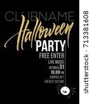 happy halloween lettering....   Shutterstock .eps vector #713381608