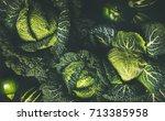 Raw Fresh Green Cabbage Textur...